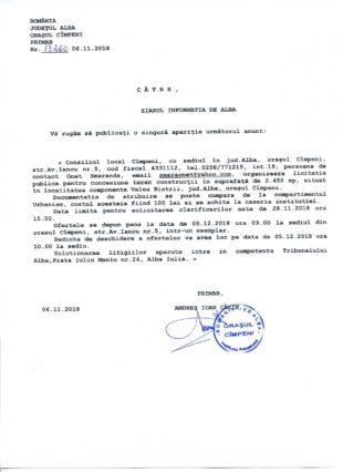 Anunt licitatie publica primaria Cimpeni