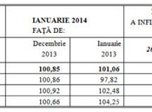 Indicele prețurilor de consum în luna ianuarie 2014
