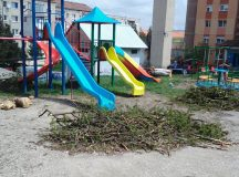 Aiud: Parc de joaca pentru copii plin de crengi taiate