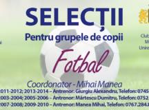 CSM UNIREA: Selecții la fotbal!