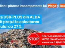 """COMUNICAT DE PRESĂ:""""Alianța PNL și USR-PLUS din Alba Iulia scumpește factura la gunoi cu peste 27 %!"""""""